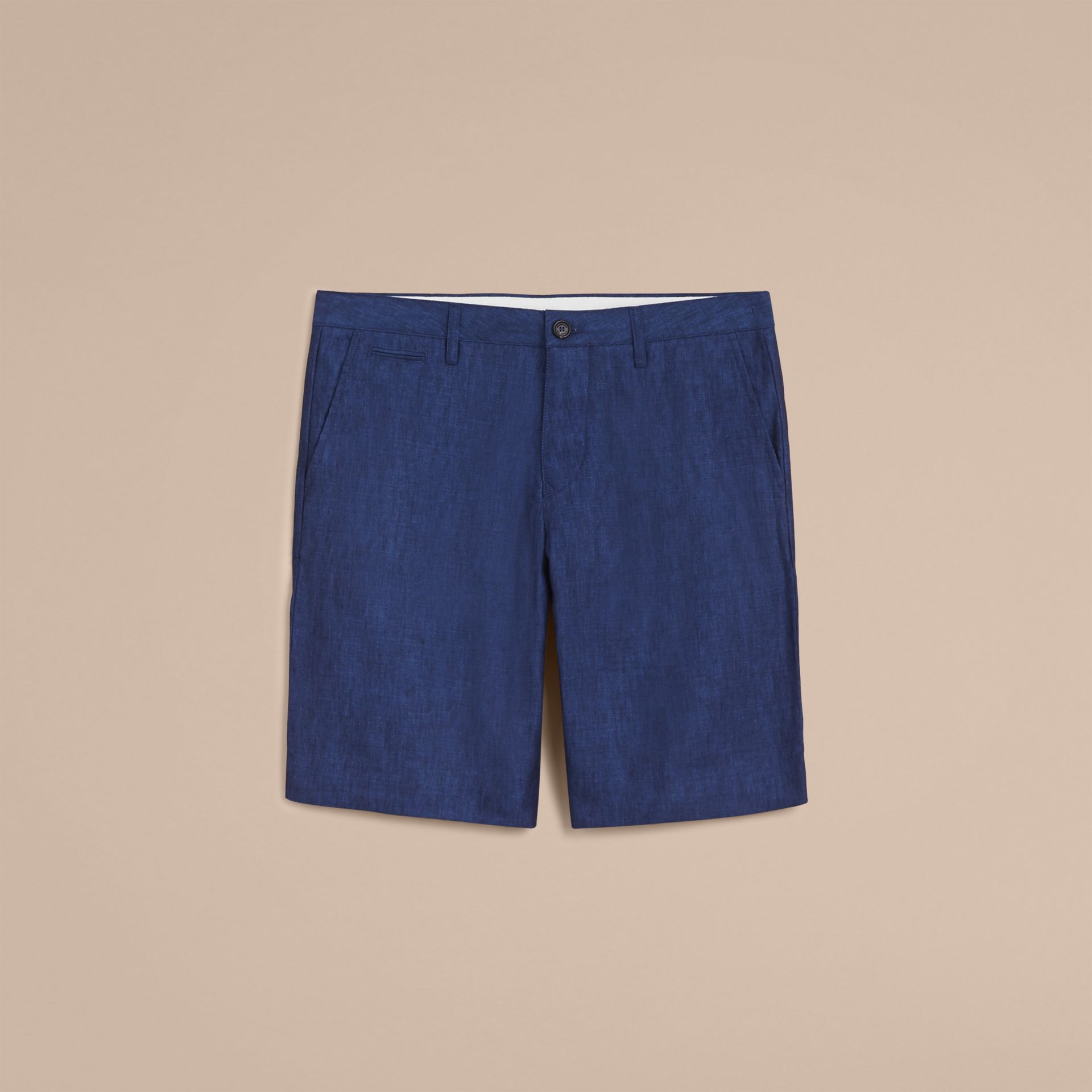 Lightweight Linen Shorts in Steel Blue - Men | Burberry - gallery image 4