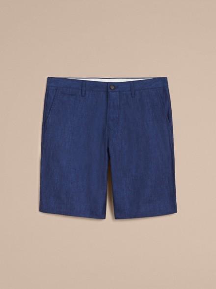 Lightweight Linen Shorts in Steel Blue - Men   Burberry