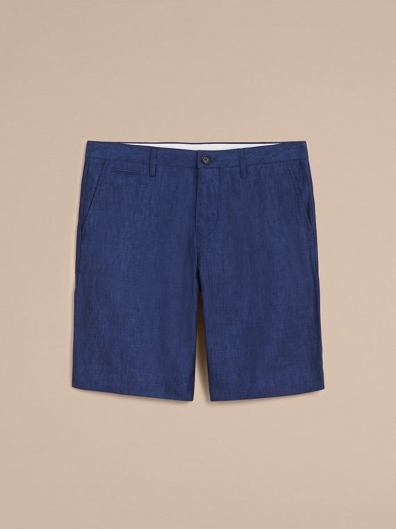 Lightweight Linen Shorts in Steel Blue - Men | Burberry Canada - cell image 3
