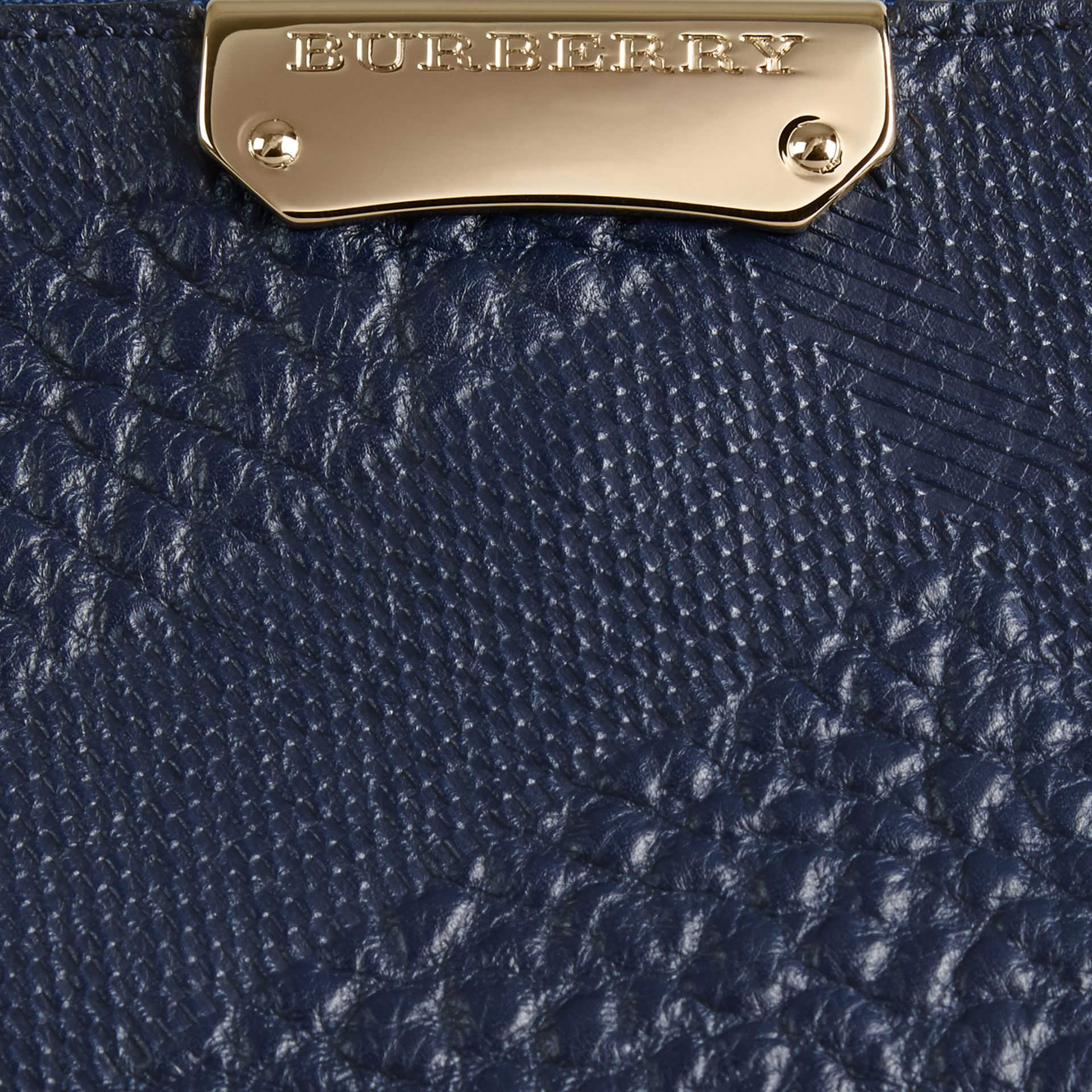 Small Embossed Check Leather Clutch Bag in Blue Carbon - gallery image 2