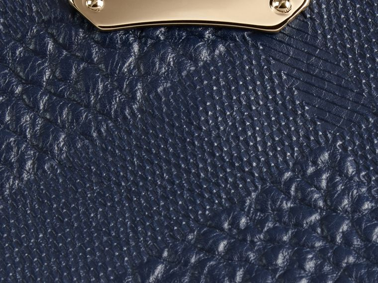 Small Embossed Check Leather Clutch Bag in Blue Carbon - cell image 1