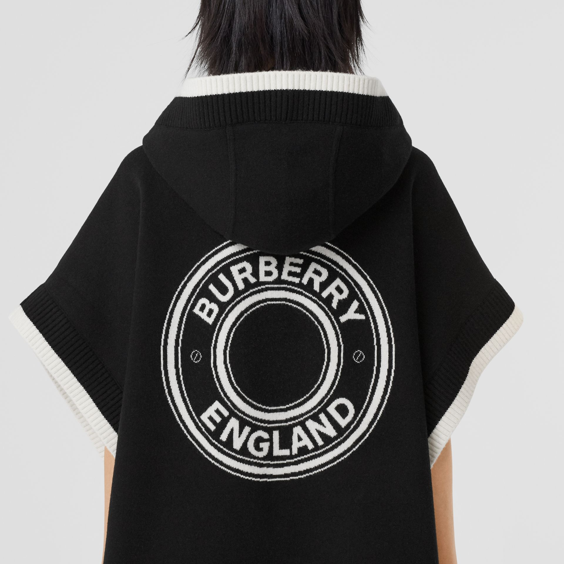 Logo Graphic Wool Cashmere Jacquard Hooded Cape in Black - Women | Burberry United States - gallery image 1