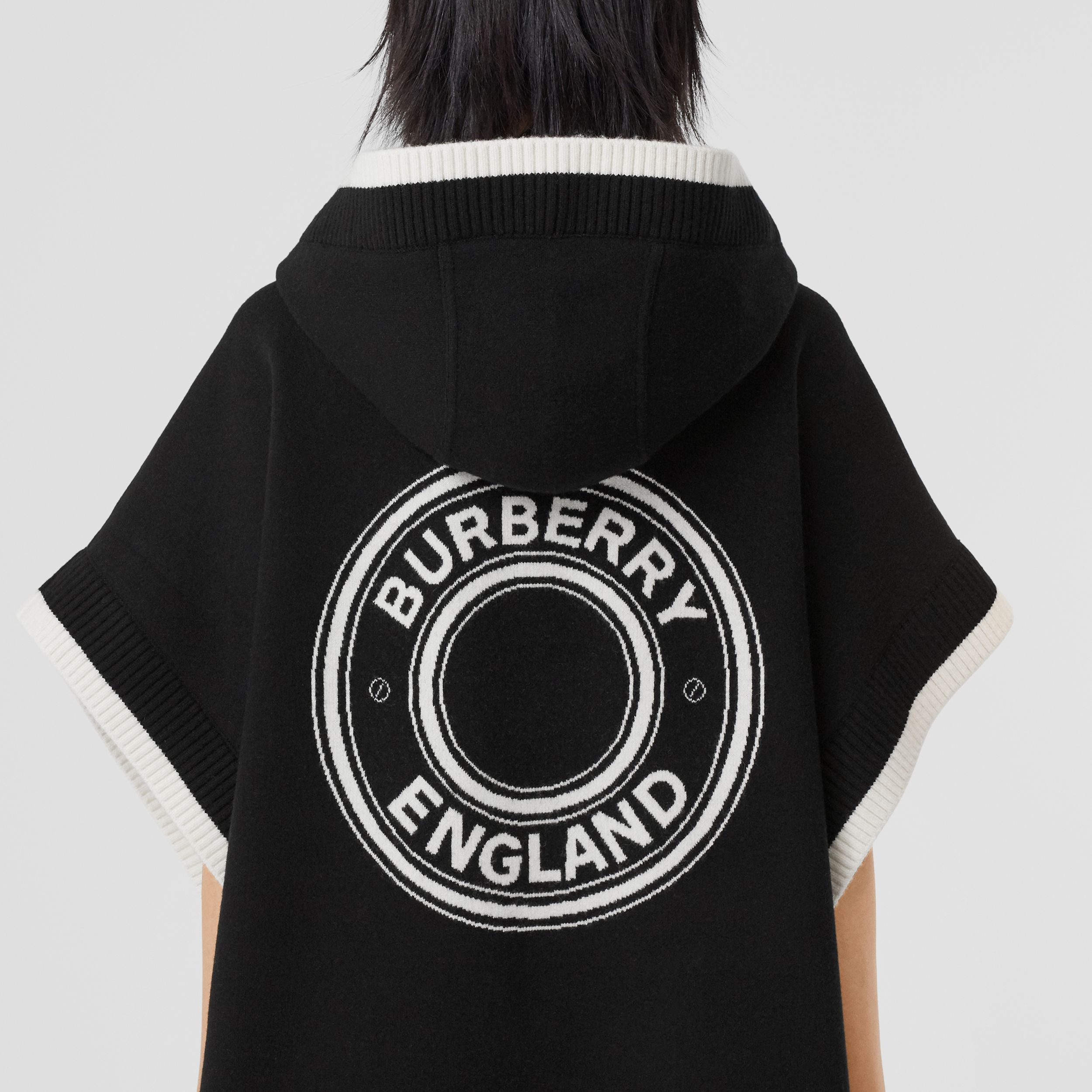 Logo Graphic Wool Cashmere Jacquard Hooded Cape in Black - Women | Burberry - 2