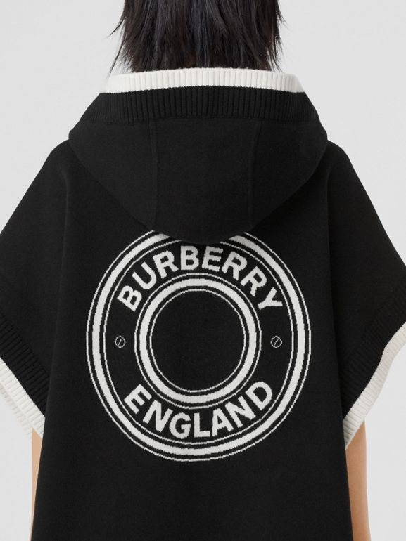 Logo Graphic Wool Cashmere Jacquard Hooded Cape in Black - Women | Burberry United States - cell image 1