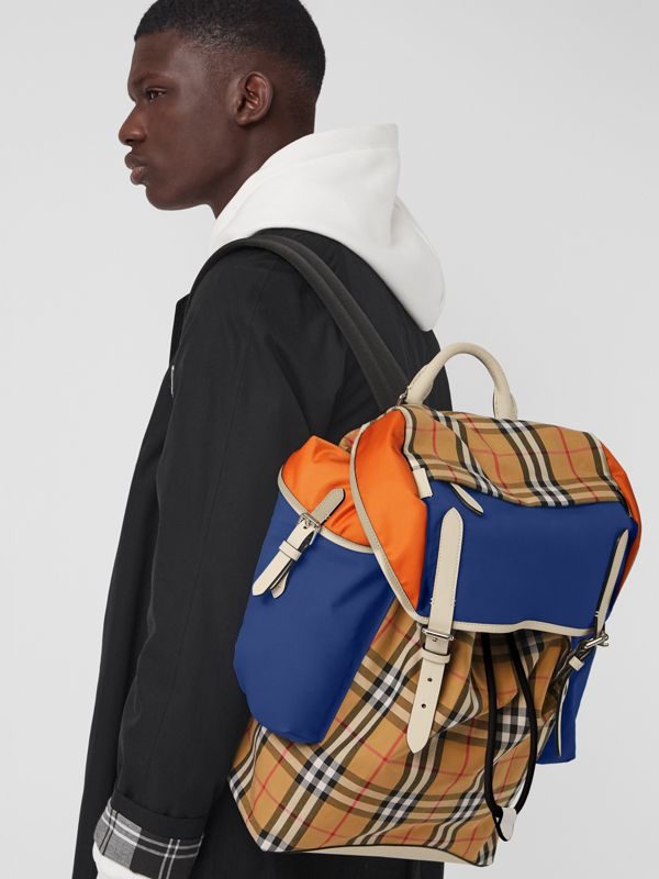 Colour Block Vintage Check and Leather Backpack in Cerulean Blue - Men | Burberry Australia - cell image 3