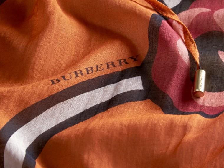 Vibrant orange Floral Print Cotton Kaftan Vibrant Orange - cell image 1