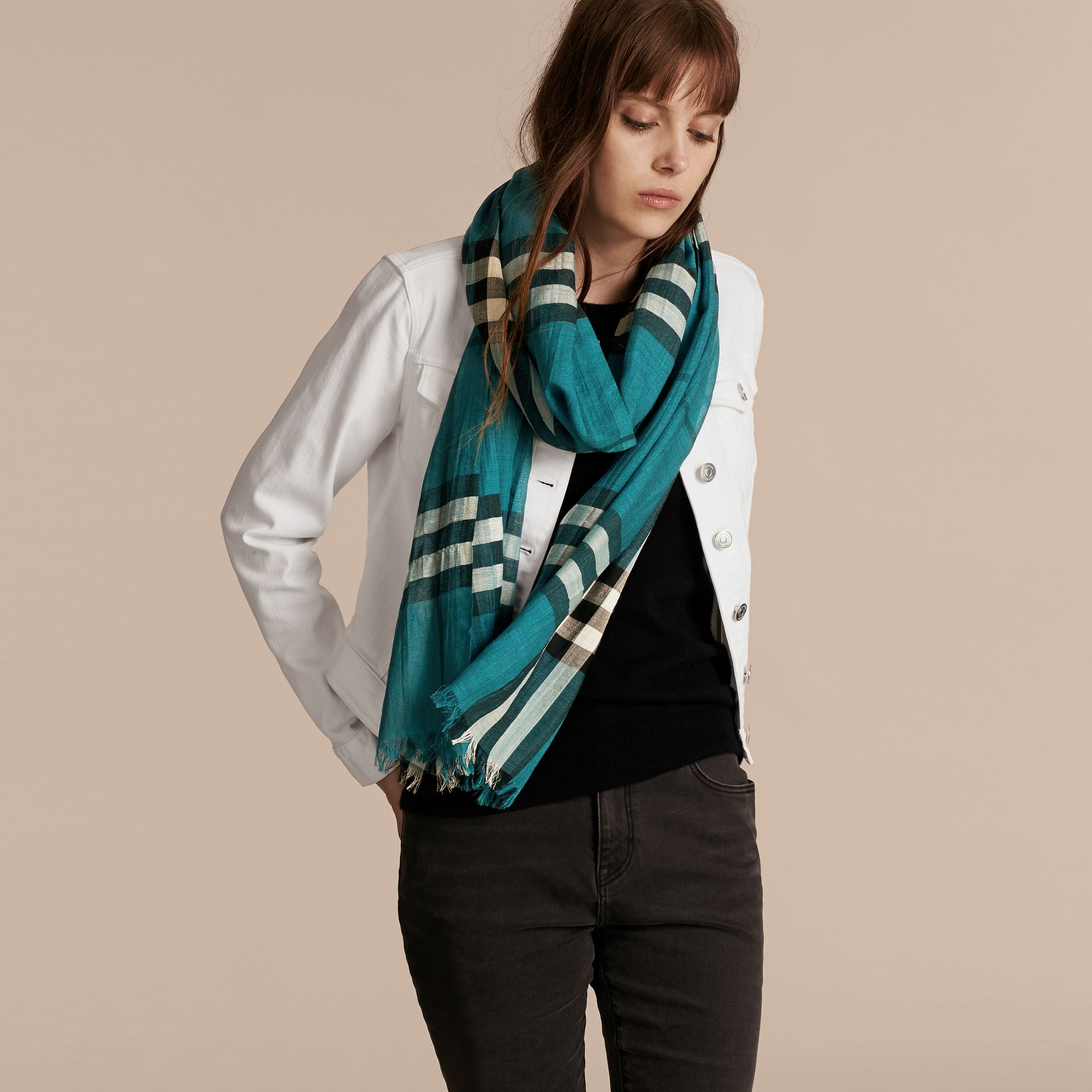 Dark aqua Lightweight Check Wool and Silk Scarf Dark Aqua - gallery image 3