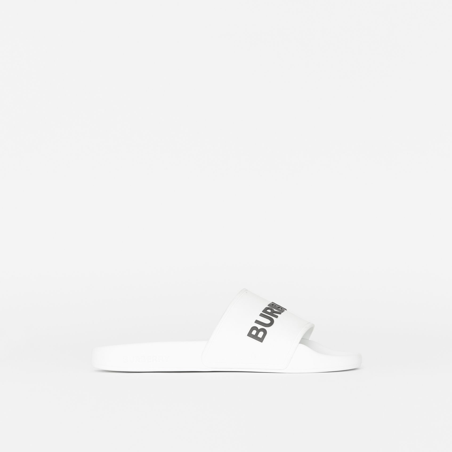 Kingdom Motif Slides in Optic White - Women | Burberry Australia - gallery image 4