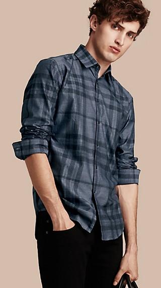 Camisa xadrez de flanela de algodão