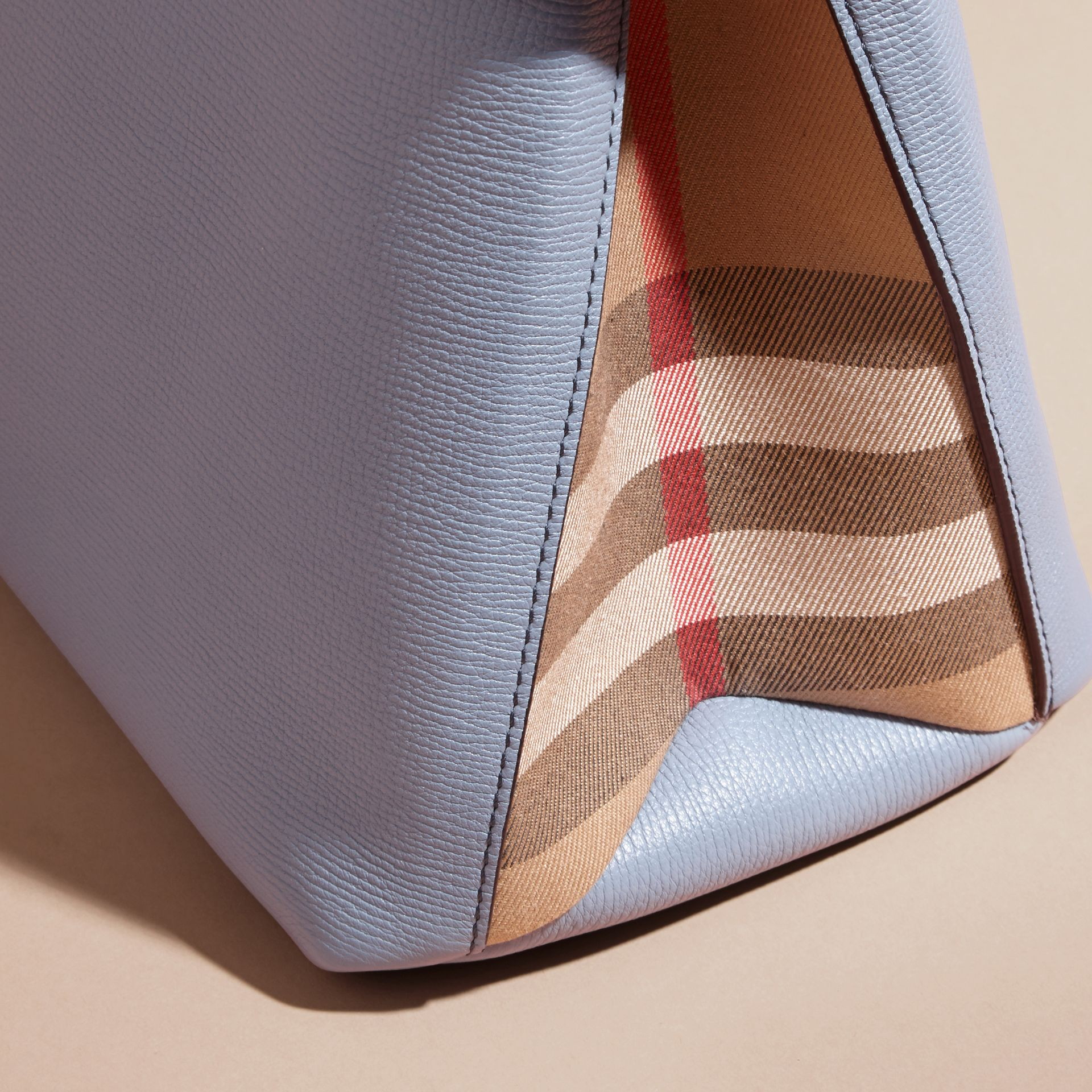The Small Banner in Leather and House Check Slate Blue - gallery image 7