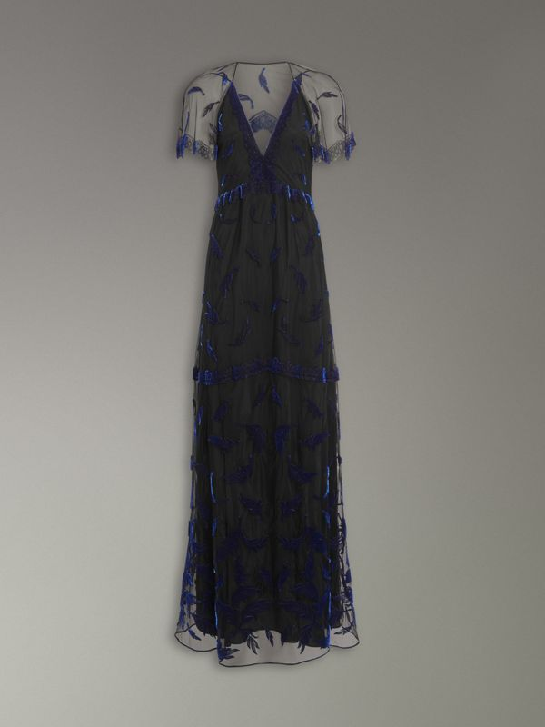 Velvet Leaf Cap-sleeve Gown in Black/blue - Women | Burberry Singapore - cell image 3