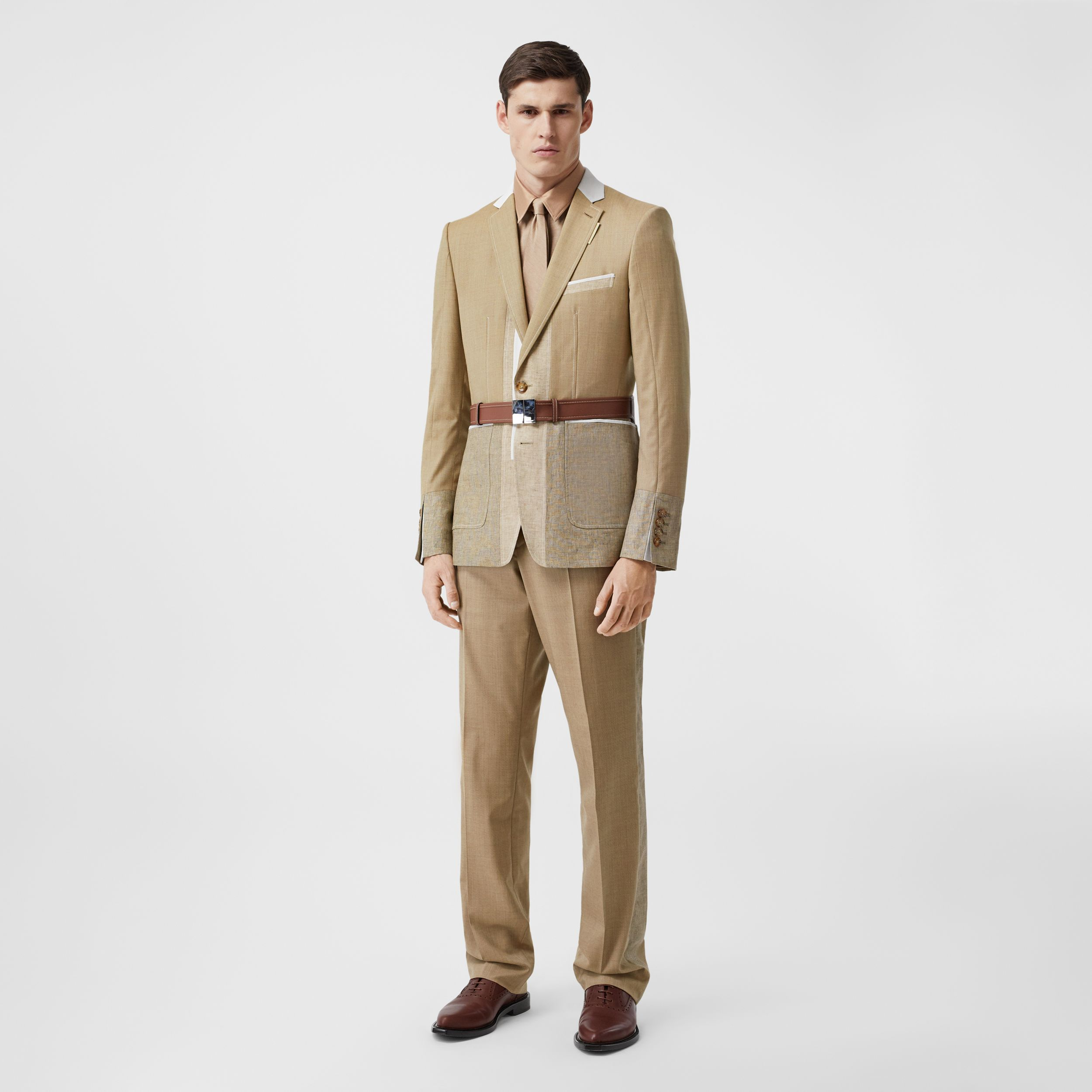 English Fit Wool Cashmere and Linen Tailored Trousers in Pecan Melange - Men | Burberry - 1