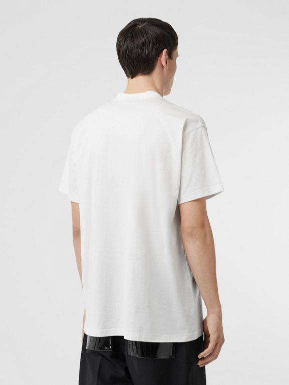 Kingdom Print Cotton T-shirt in White - Men | Burberry - cell image 1
