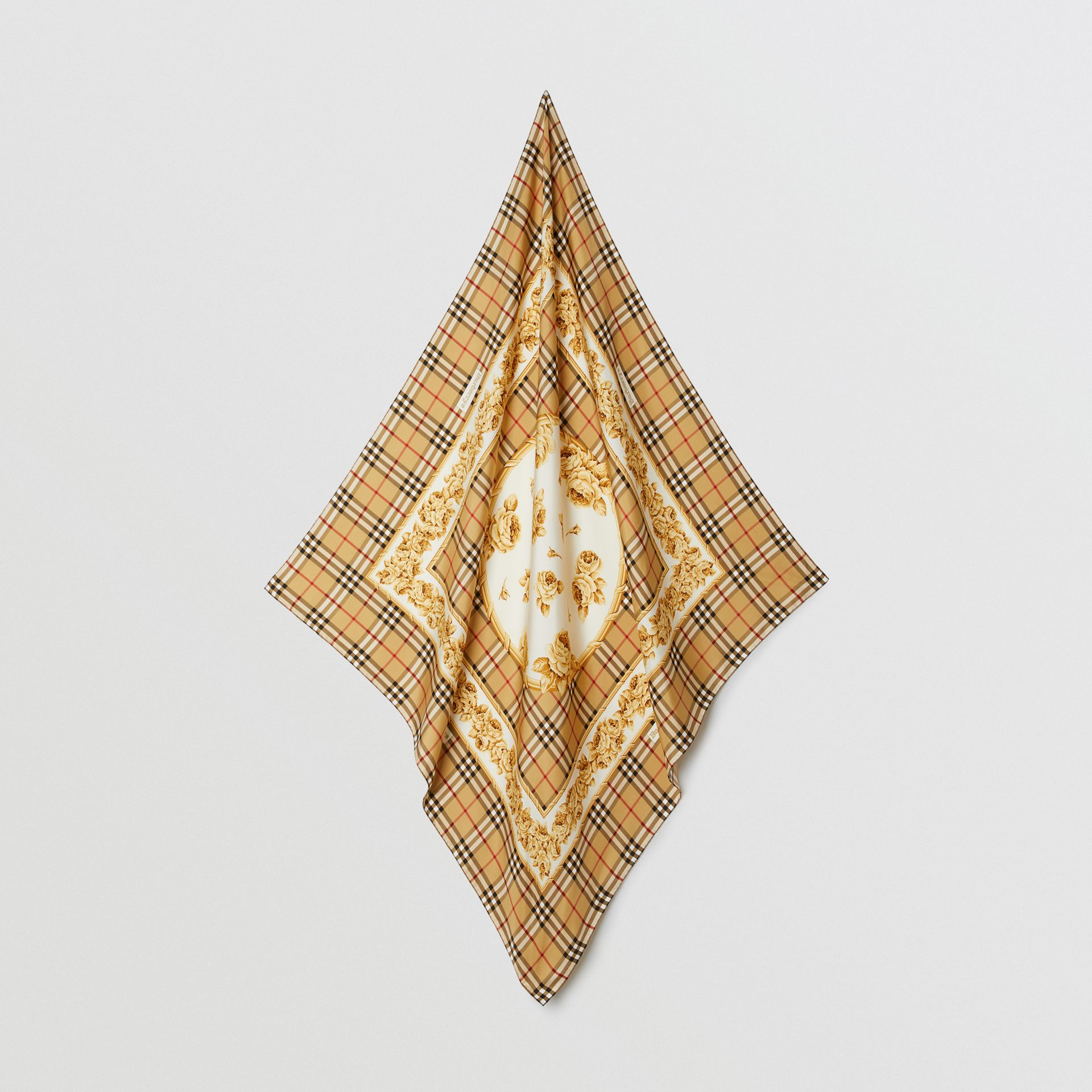 Archive Scarf Print Silk Square Scarf in Antique Yellow | Burberry - gallery image 4