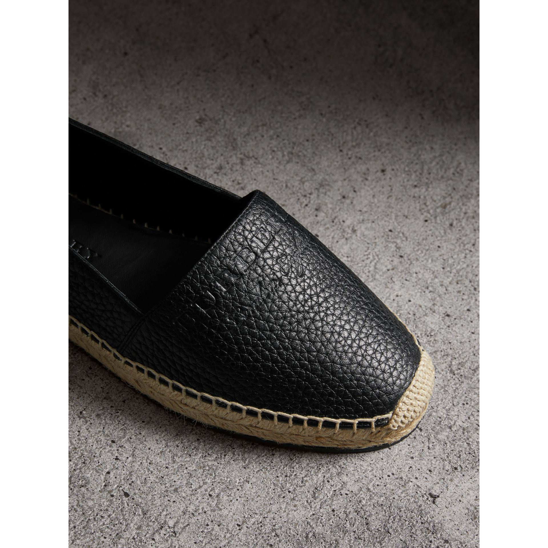 Embossed Grainy Leather Espadrilles in Black - Women | Burberry Canada - gallery image 1