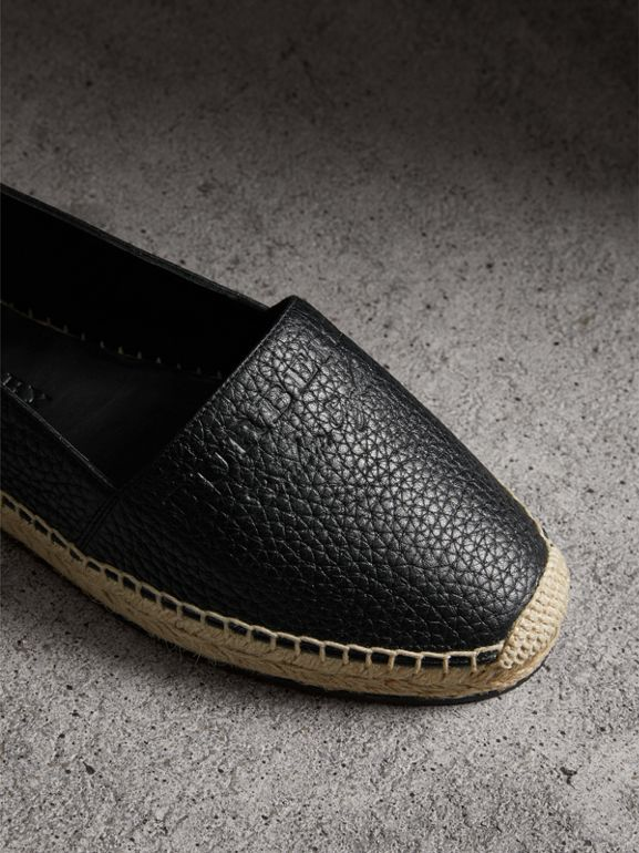 Embossed Grainy Leather Espadrilles in Black - Women | Burberry Singapore - cell image 1