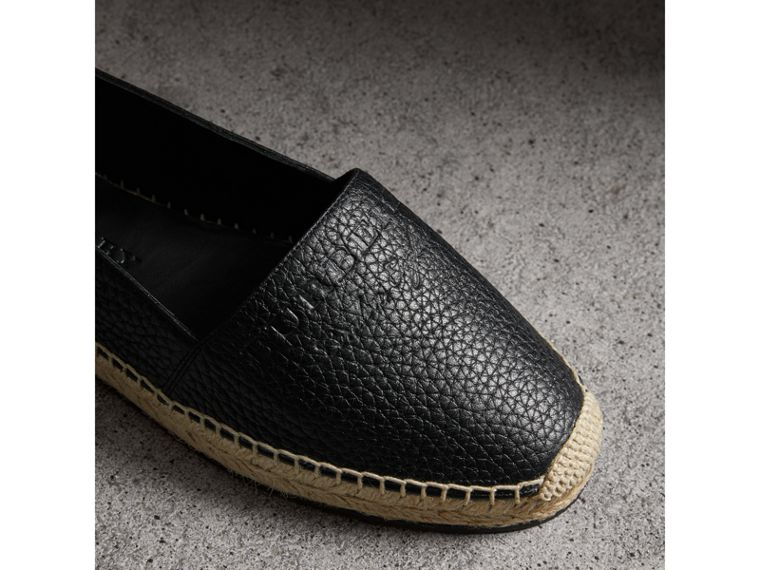 Embossed Grainy Leather Espadrilles in Black - Women | Burberry United Kingdom - cell image 1