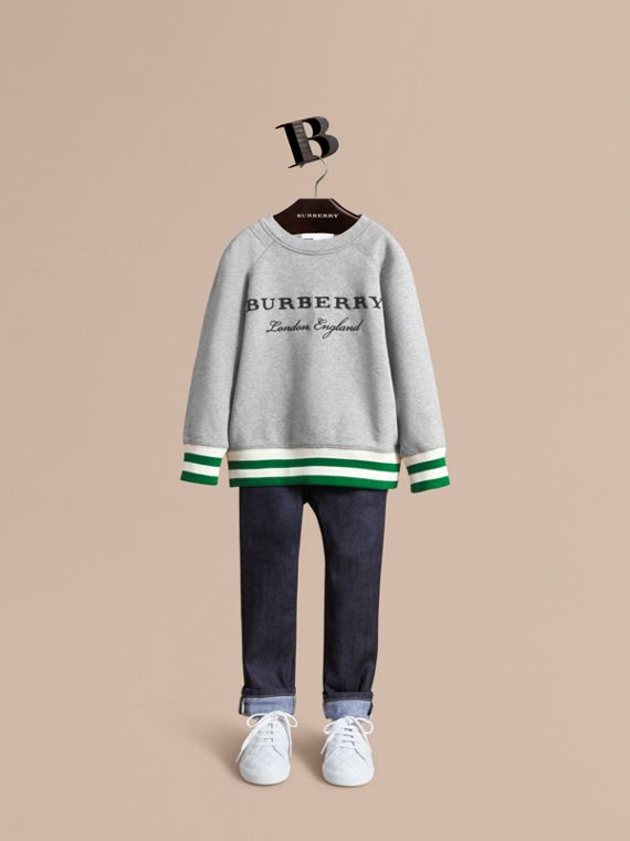 Contrast Stripe Cotton Jersey Sweatshirt - Boy | Burberry Hong Kong