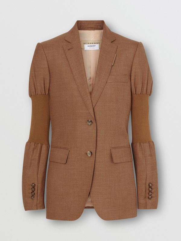 Panelled-sleeve Mohair Wool Blend Tailored Jacket in Bronze - Women | Burberry United Kingdom - cell image 3