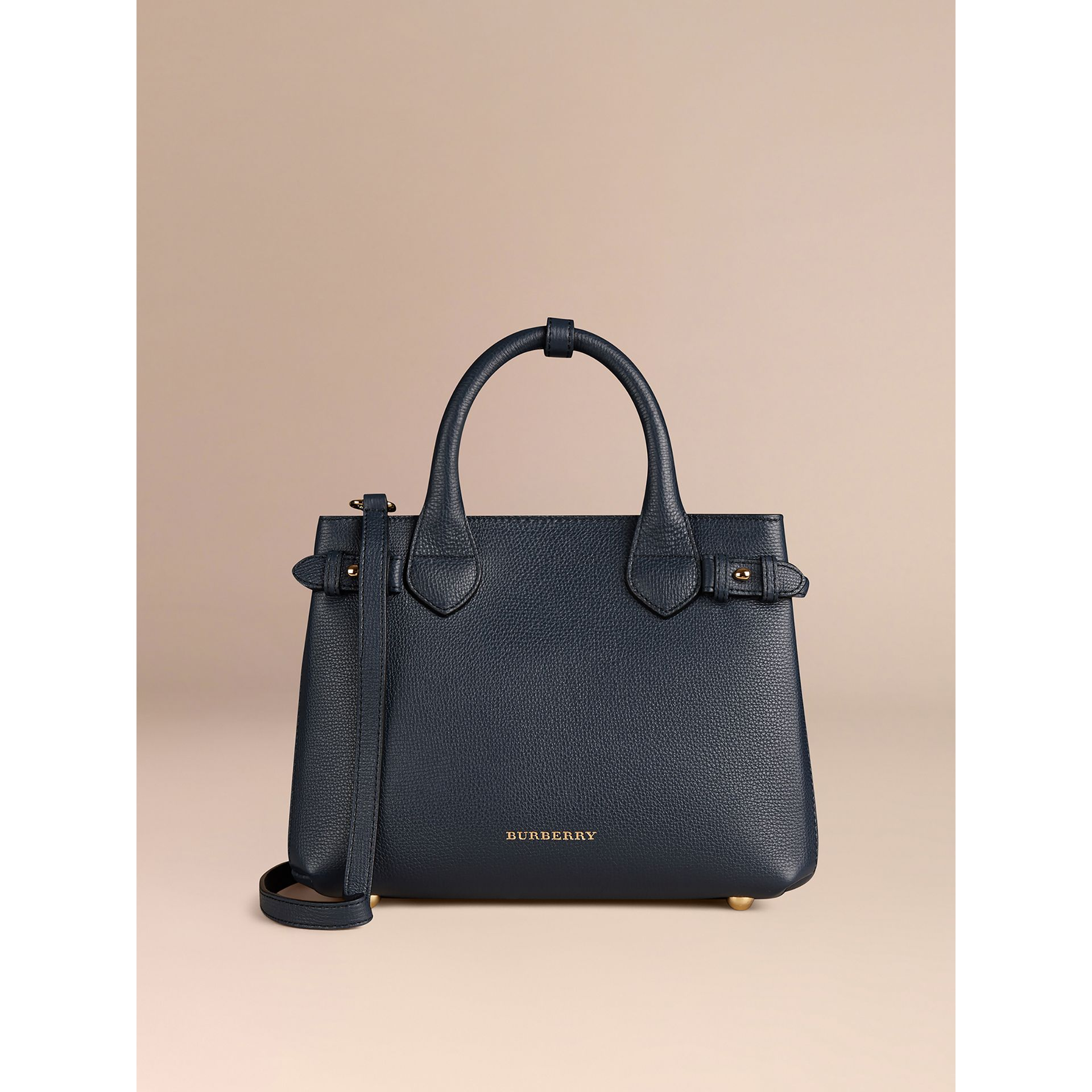 The Small Banner in Leather and House Check in Ink Blue - Women | Burberry - gallery image 5