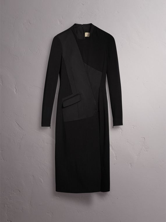 Tailored Panel Crepe and Wool Dress in Black - Women | Burberry - cell image 3