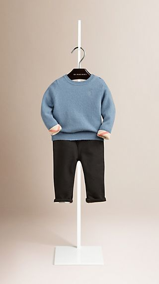 Check Detail Cashmere Sweater