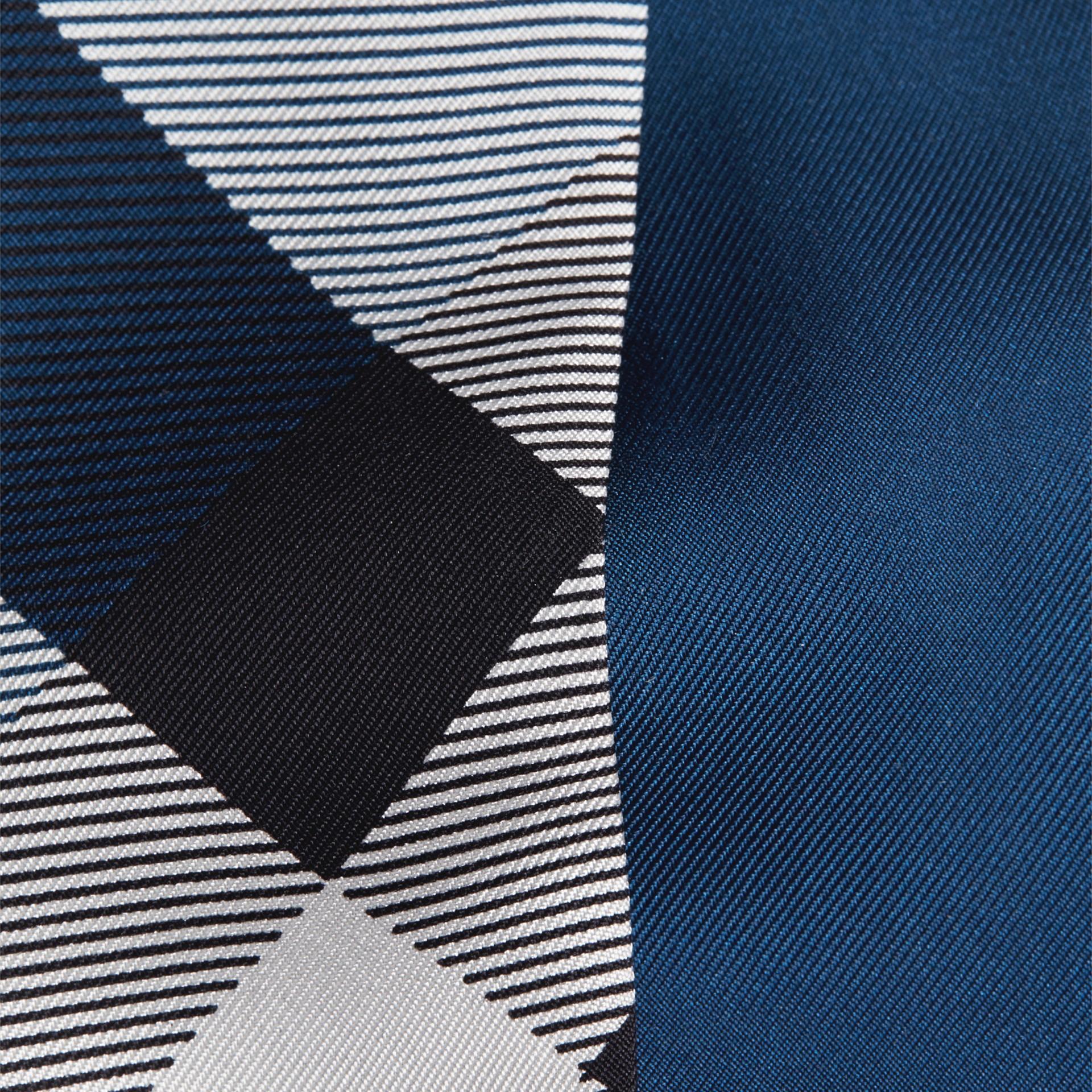 Marine blue Check Print Slim Silk Scarf Marine Blue - gallery image 2