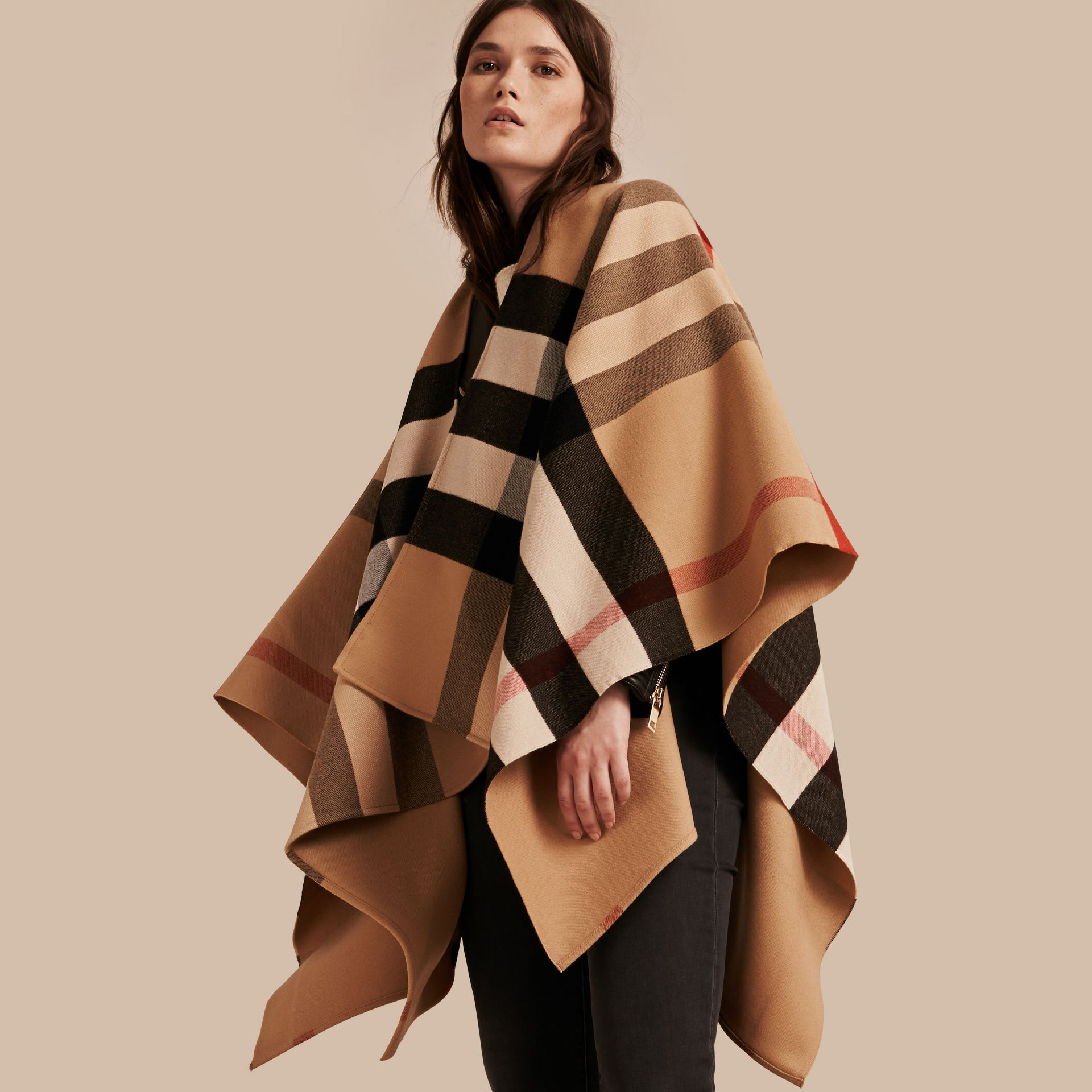 Check Wool Poncho in Camel - Women | Burberry Singapore - gallery image 0