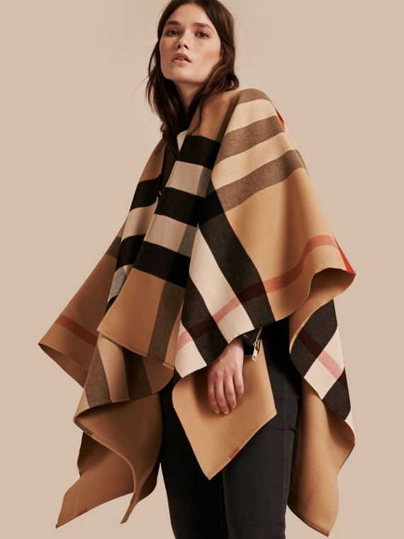 Check Wool Poncho in Camel