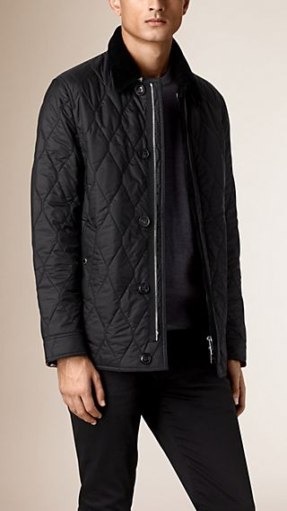 Check Detail Quilted Jacket with Corduroy Collar