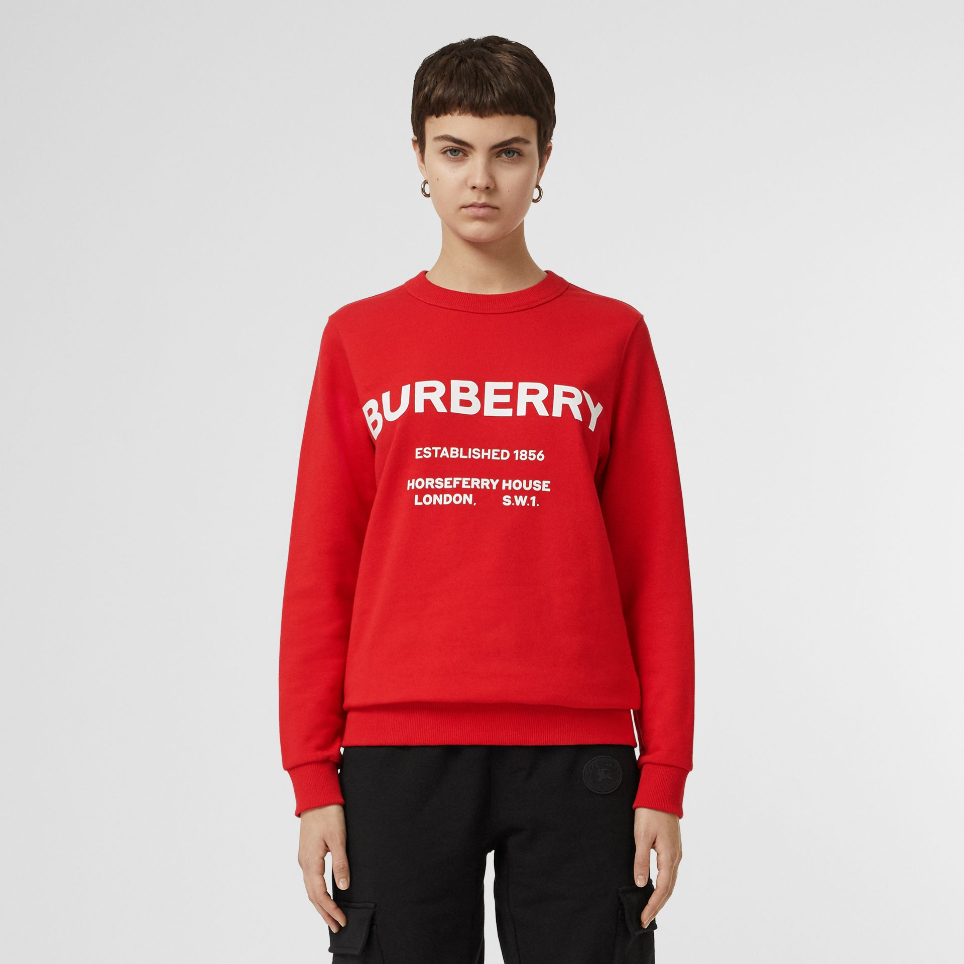 Horseferry Print Cotton Sweatshirt in Bright Red - Women | Burberry - gallery image 5
