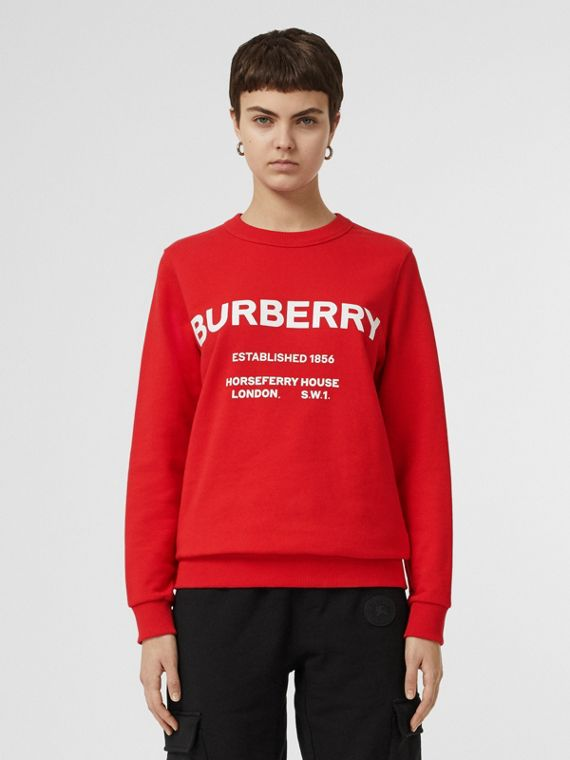 Horseferry Print Cotton Sweatshirt in Bright Red
