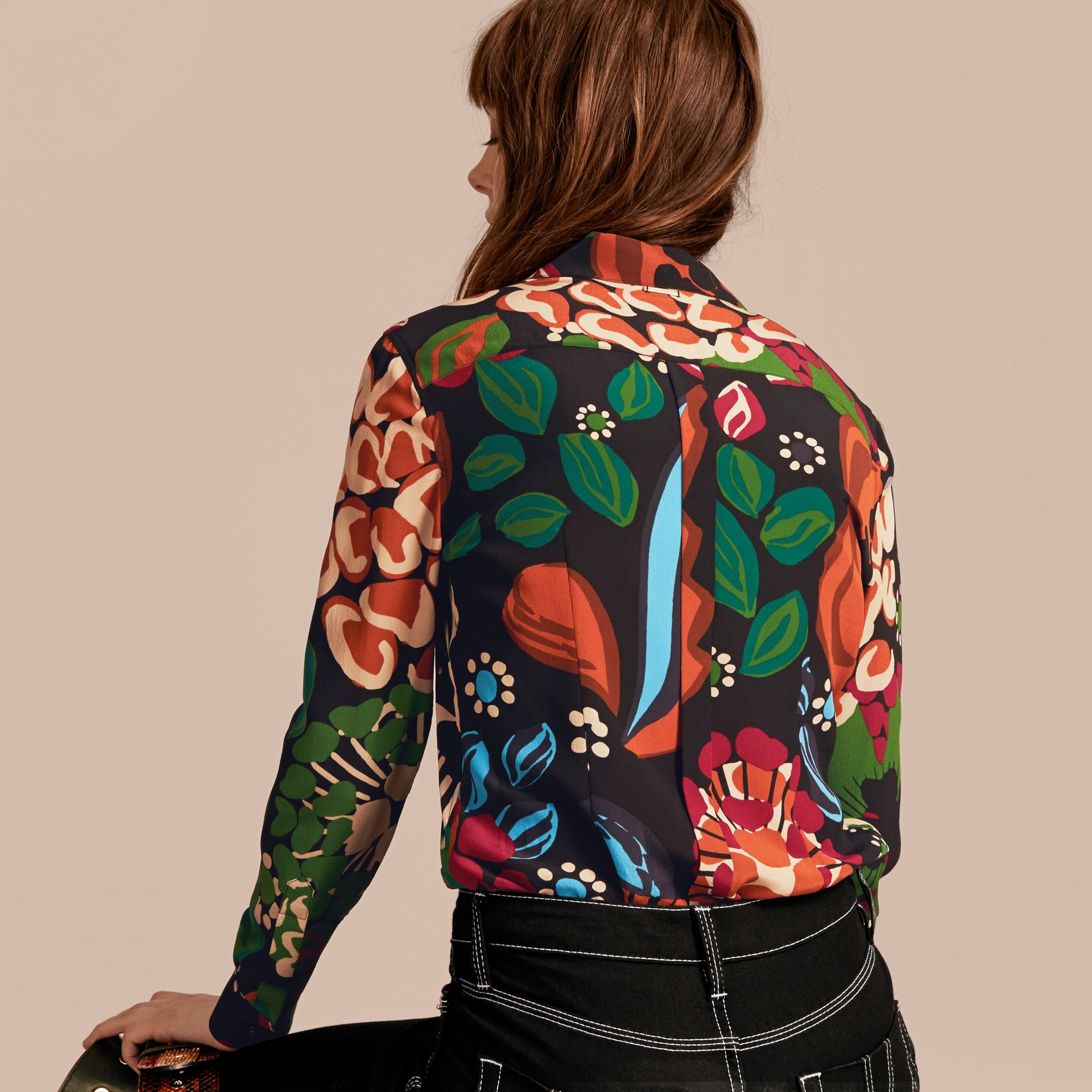 Deep navy Floral Print Silk Shirt - gallery image 3