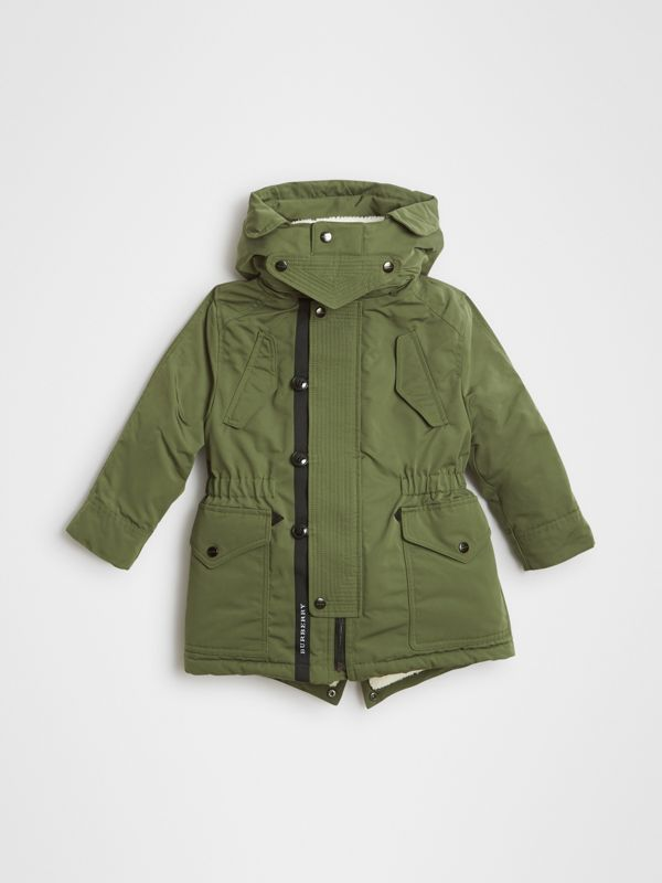 Detachable Hood Down-filled Parka Coat in Sage | Burberry - cell image 2