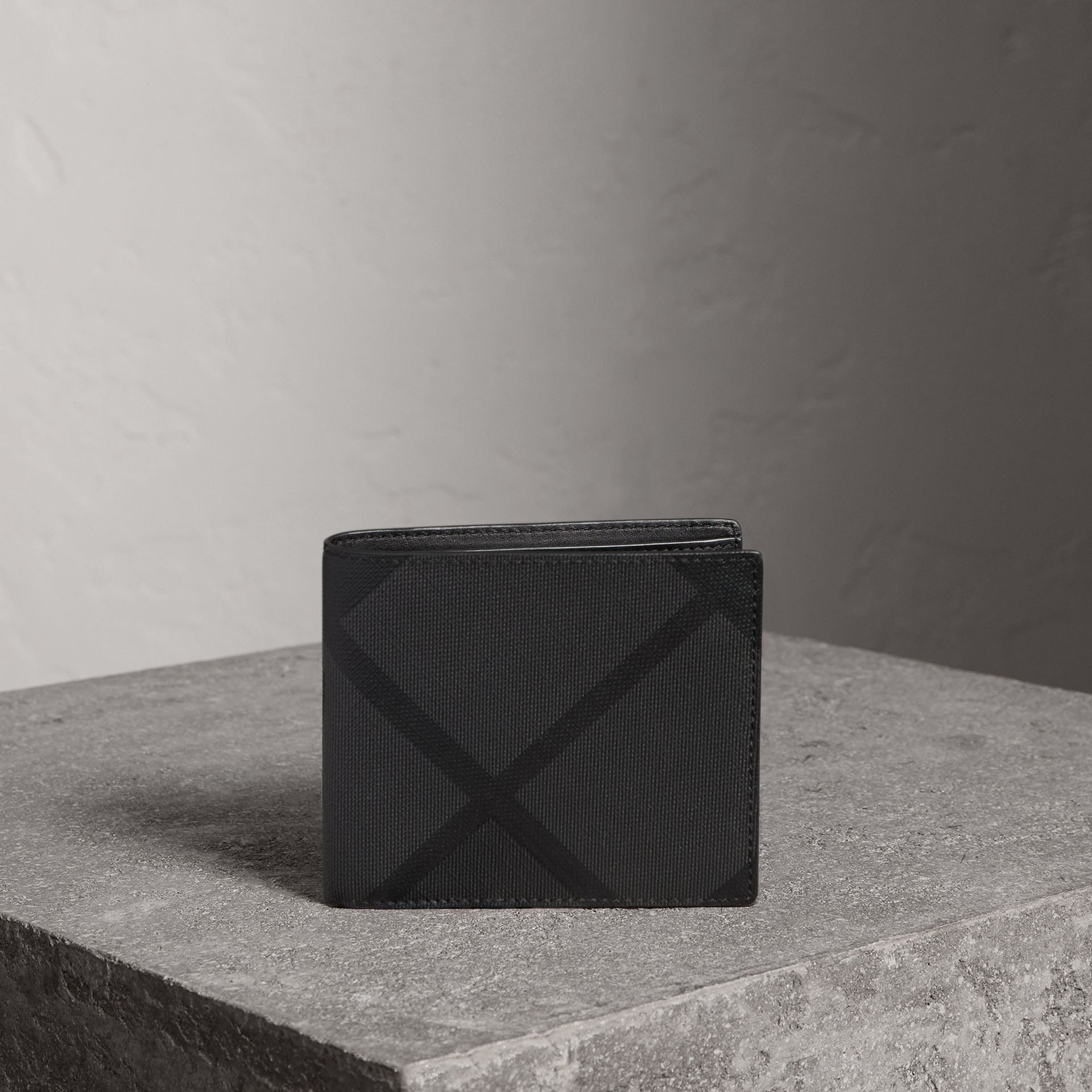 London Check ID Wallet in Charcoal/black - Men | Burberry Canada - gallery image 0
