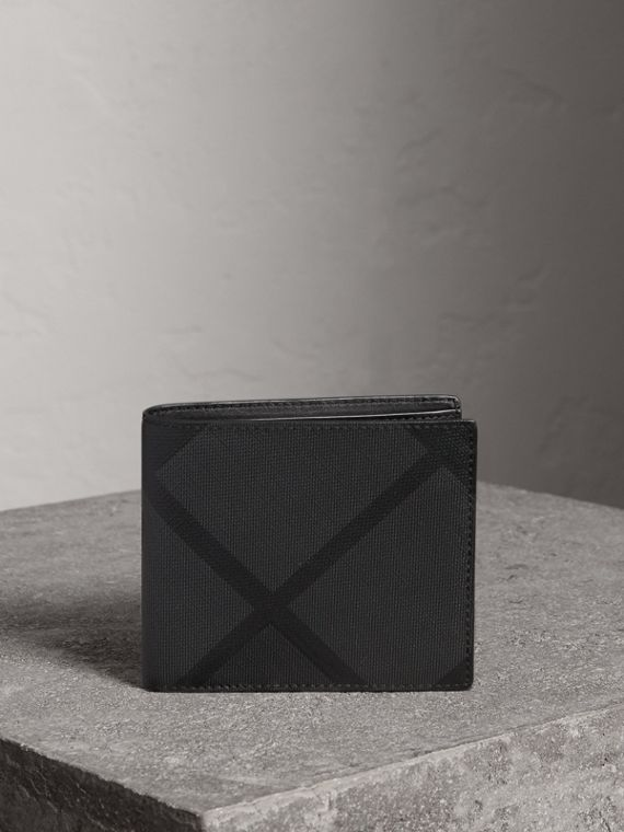London Check ID Wallet in Charcoal/black