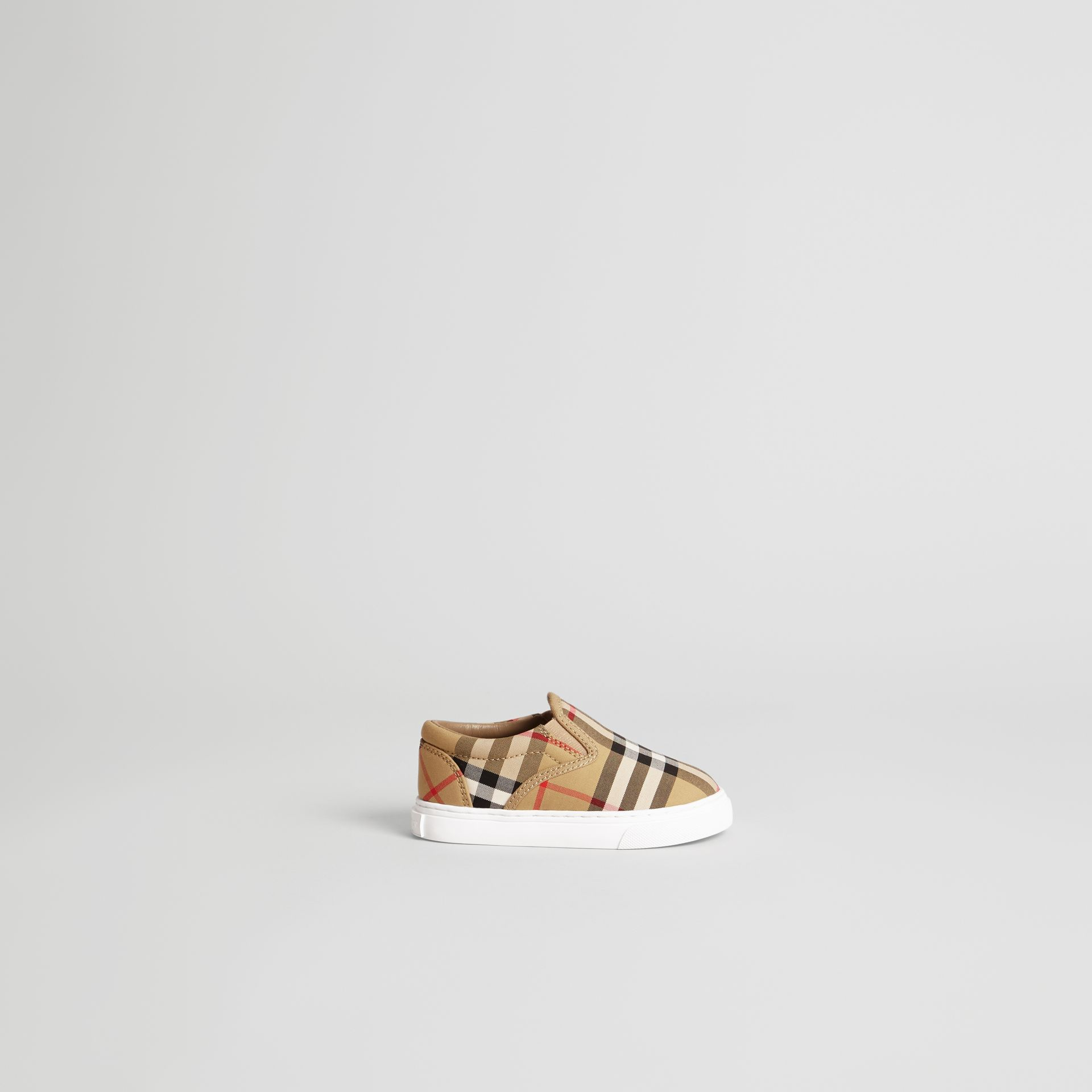 Vintage Check and Leather Slip-on Sneakers in Antique Yellow/optic White - Children | Burberry United Kingdom - gallery image 3