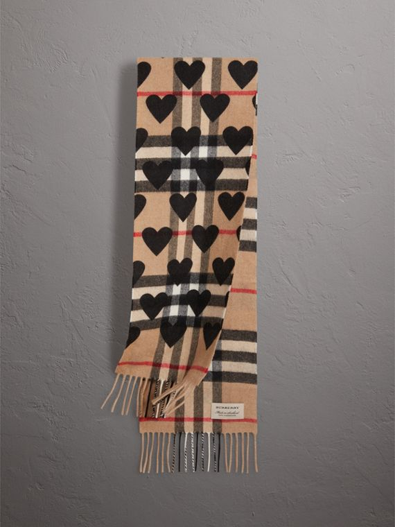 The Mini Classic Check Cashmere Scarf with Hearts in Black