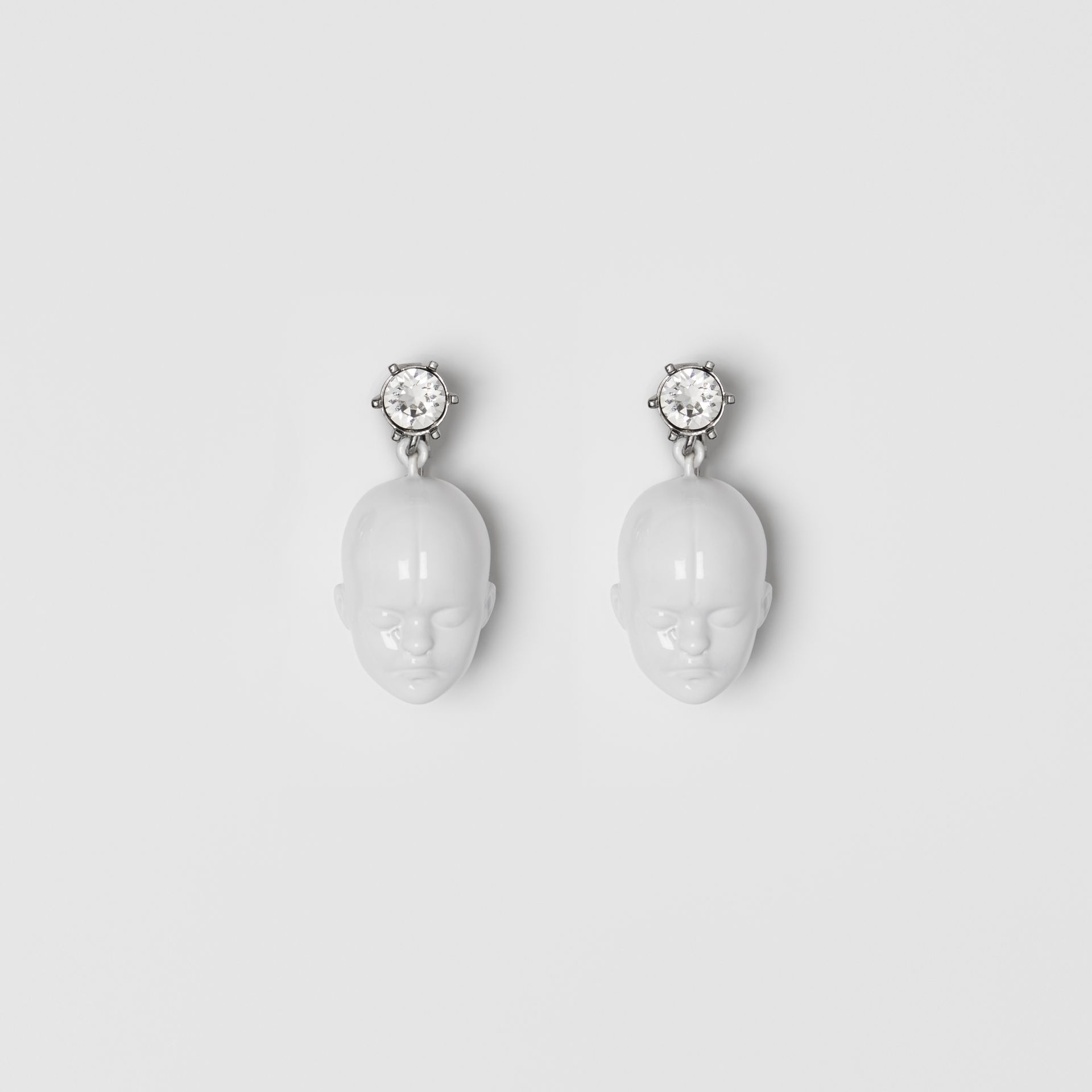 Crystal and Doll's Head Palladium-plated Earrings in White/palladium - Women | Burberry Canada - gallery image 0