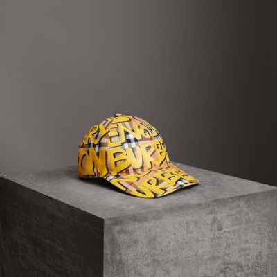 Graffiti Print Vintage Check Baseball Cap, Bright Yellow/Antique Yellow