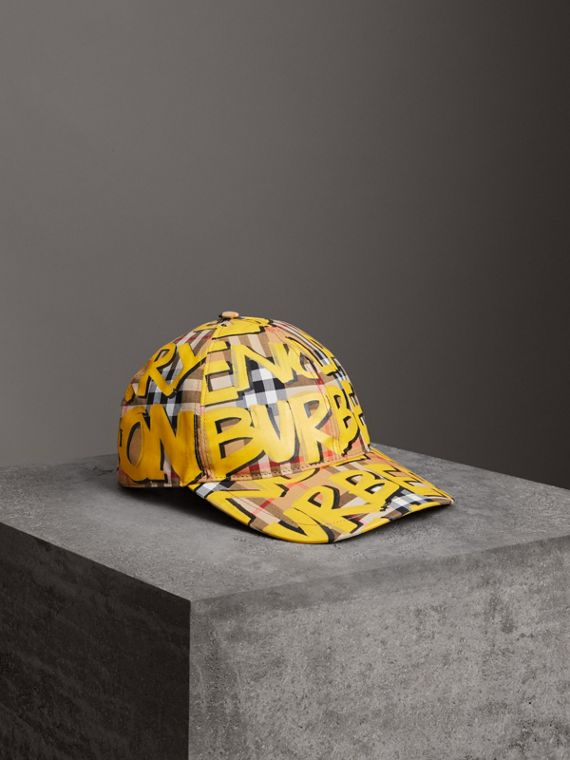 Graffiti Print Vintage Check Baseball Cap in Bright Yellow/antique Yellow