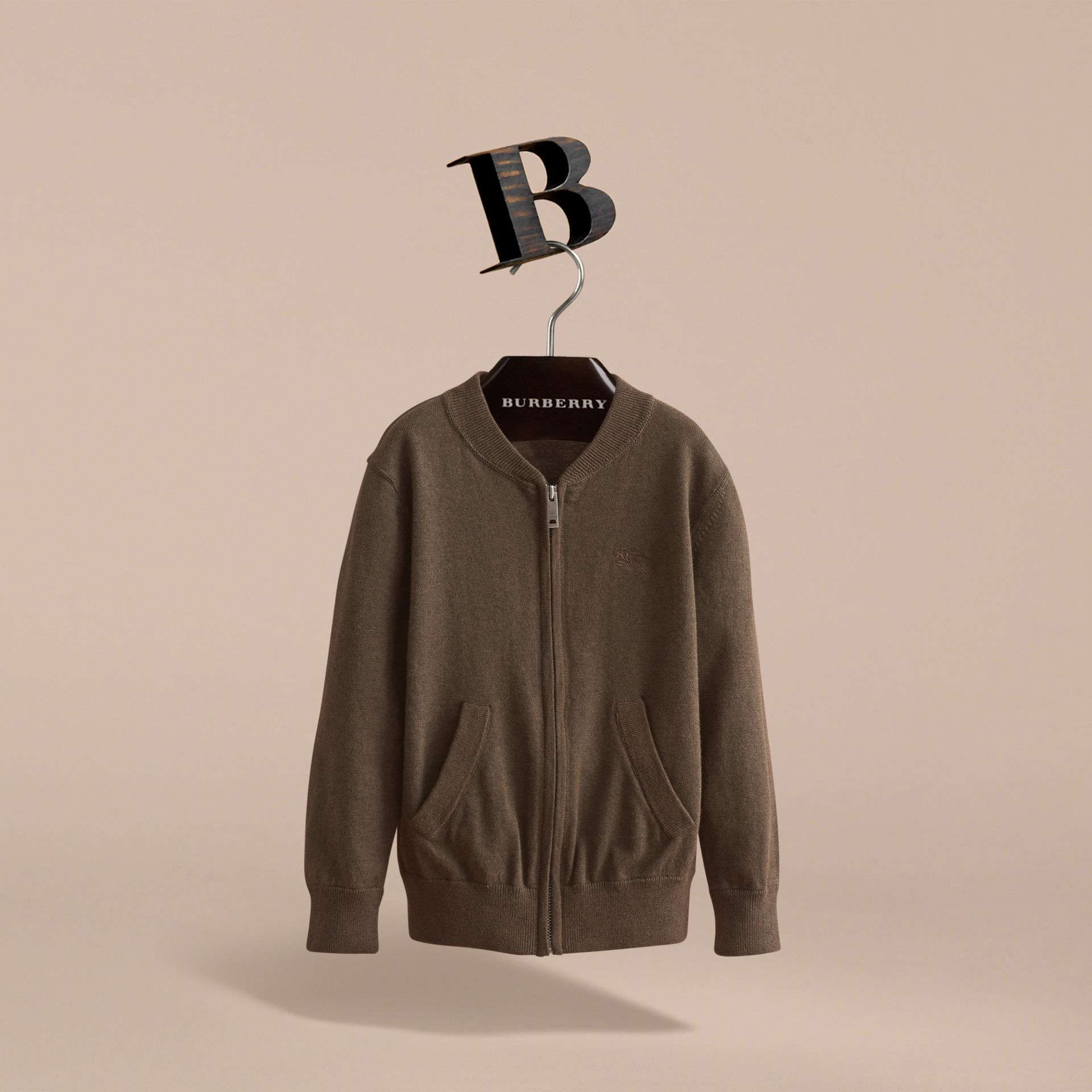 Check Detail Cotton Zip-front Cardigan - Boy | Burberry - gallery image 3