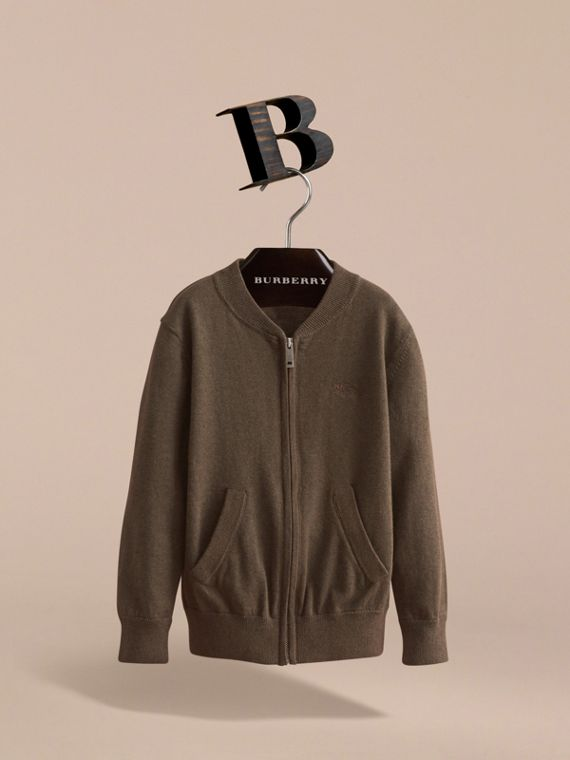 Check Detail Cotton Zip-front Cardigan - Boy | Burberry - cell image 2