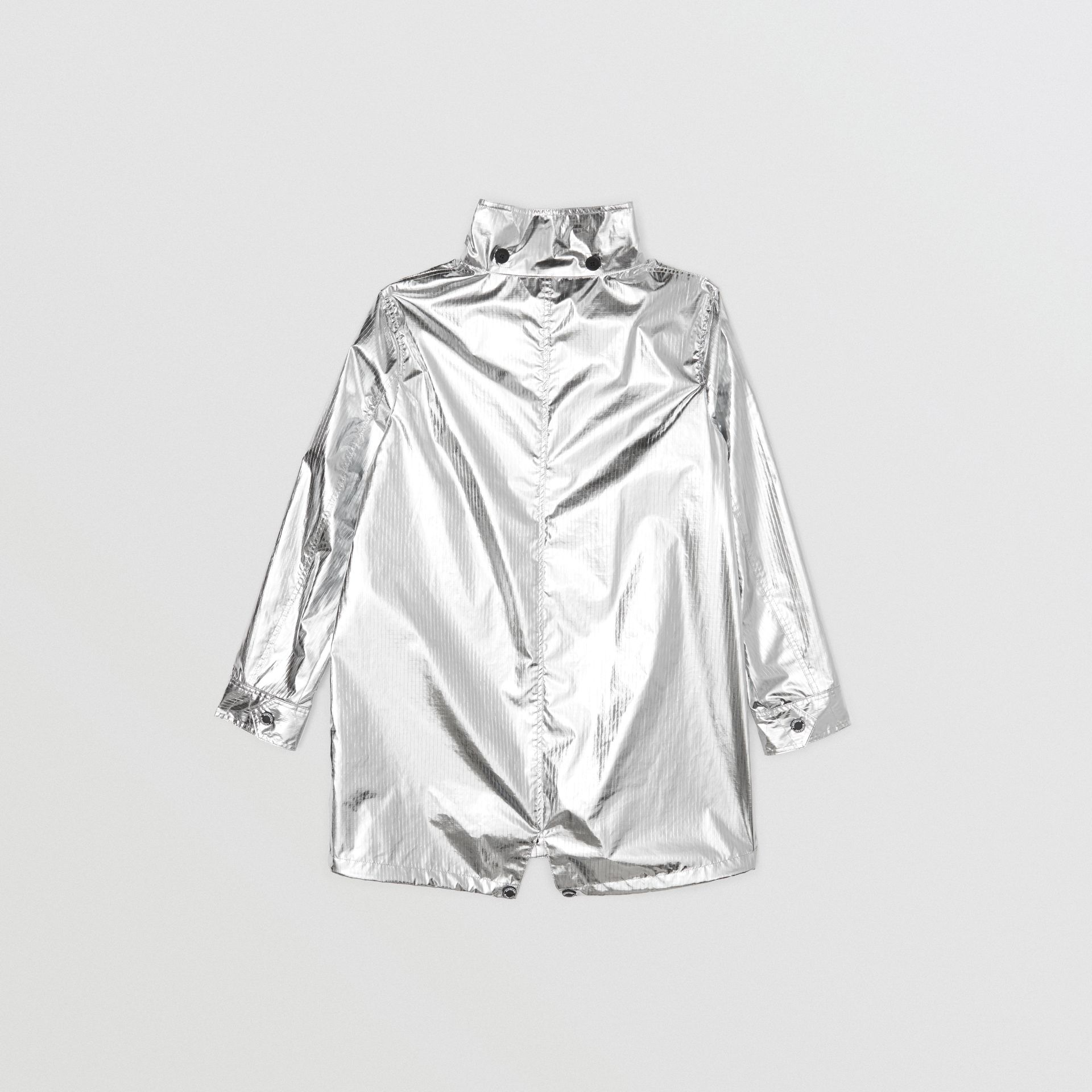 Detachable Hood Metallic Nylon Parka in Silver | Burberry - gallery image 4