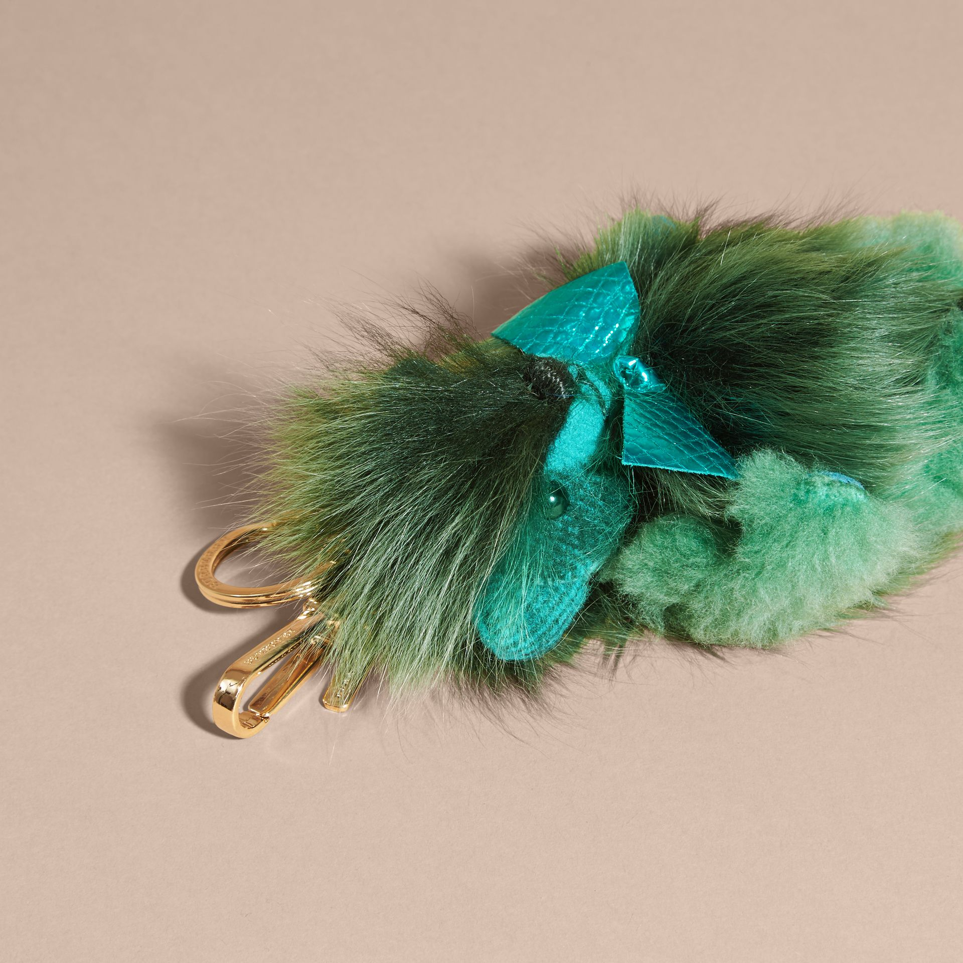 Dark aqua Thomas Bear Pom-Pom Charm in Check Cashmere Dark Aqua - gallery image 4