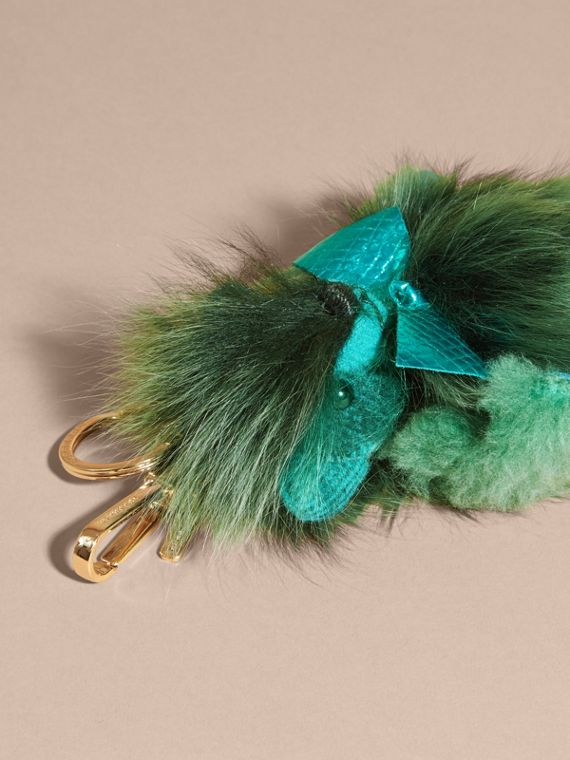 Dark aqua Thomas Bear Pom-Pom Charm in Check Cashmere Dark Aqua - cell image 3