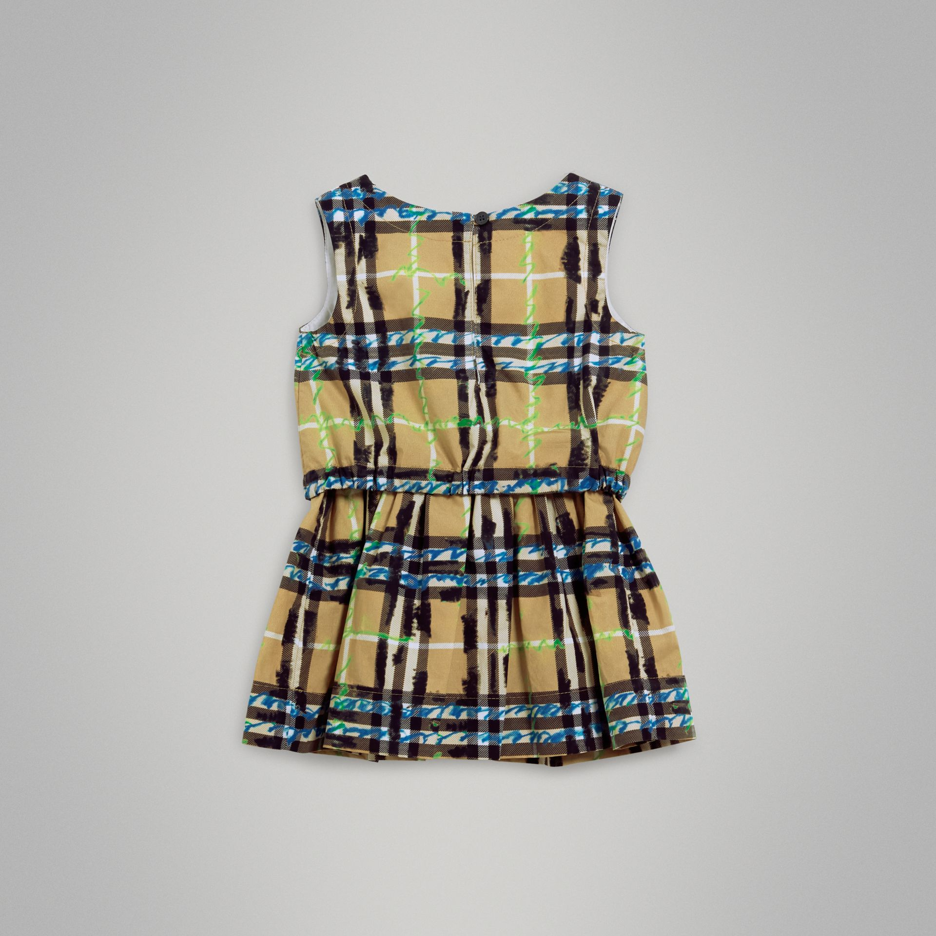 Scribble Check Print Cotton Drawcord Dress in Bright Blue | Burberry - gallery image 3