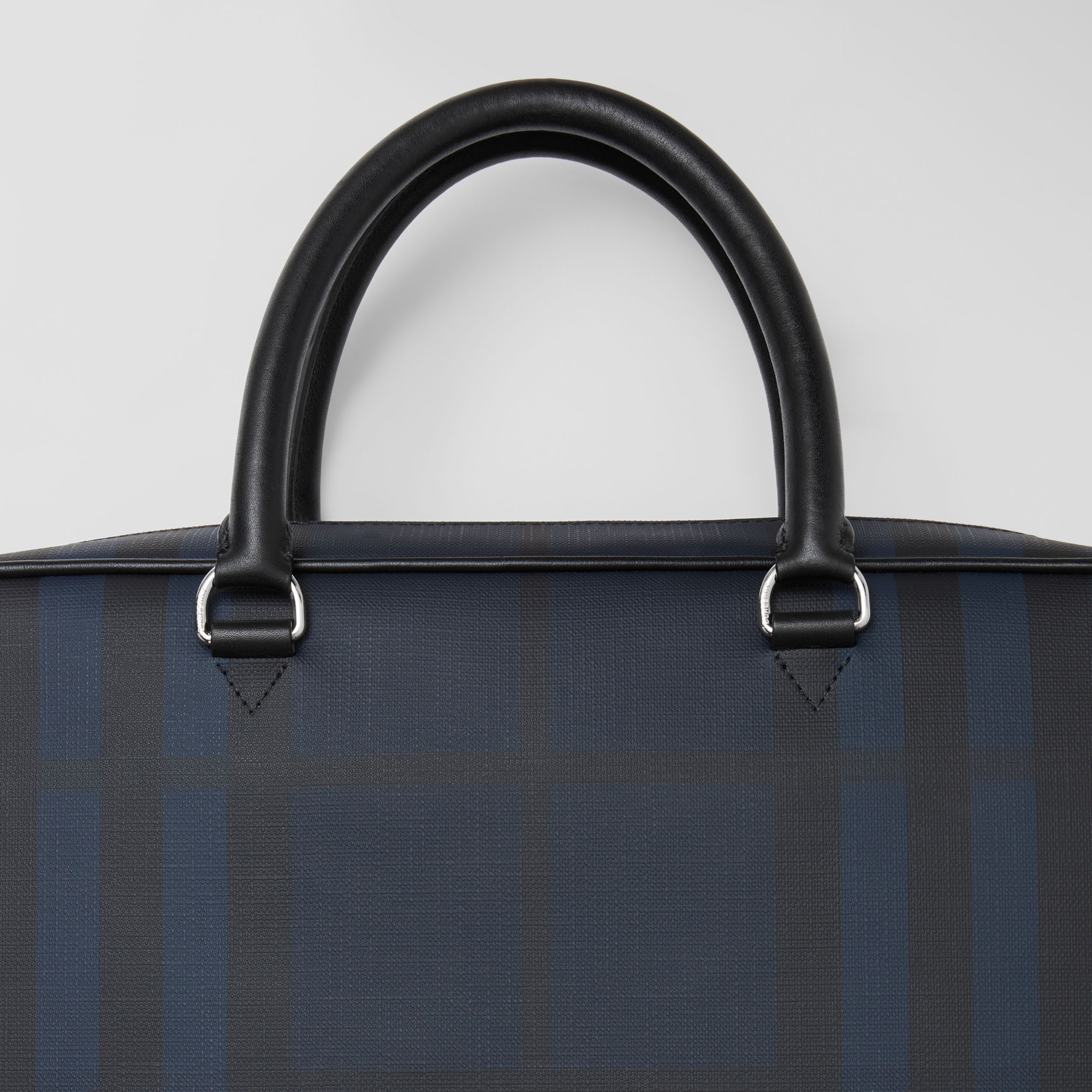 London Check and Leather Briefcase in Navy - Men | Burberry - 2