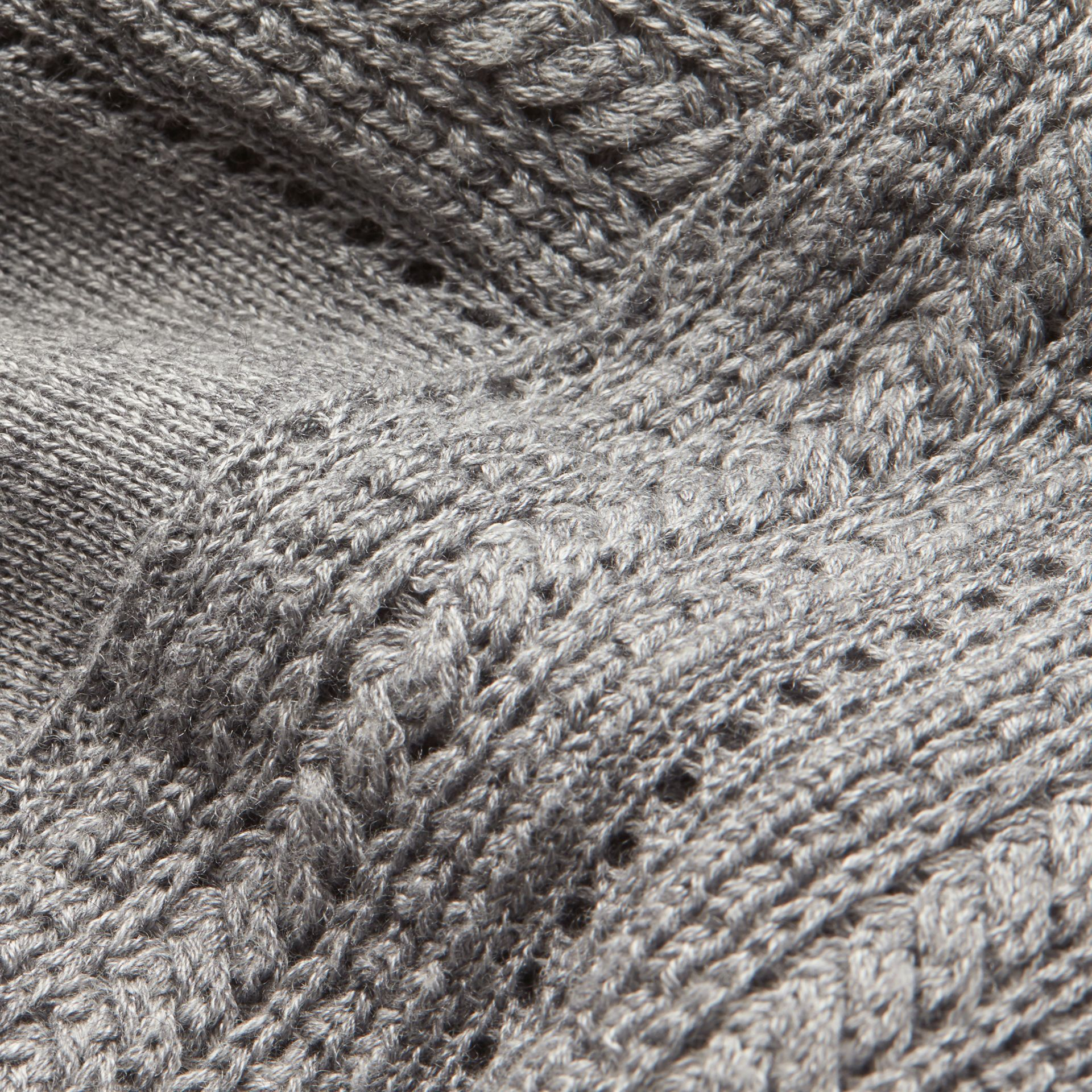 Pale grey melange Open Stitch Detail Silk Wool Cardigan Pale Grey Melange - gallery image 2