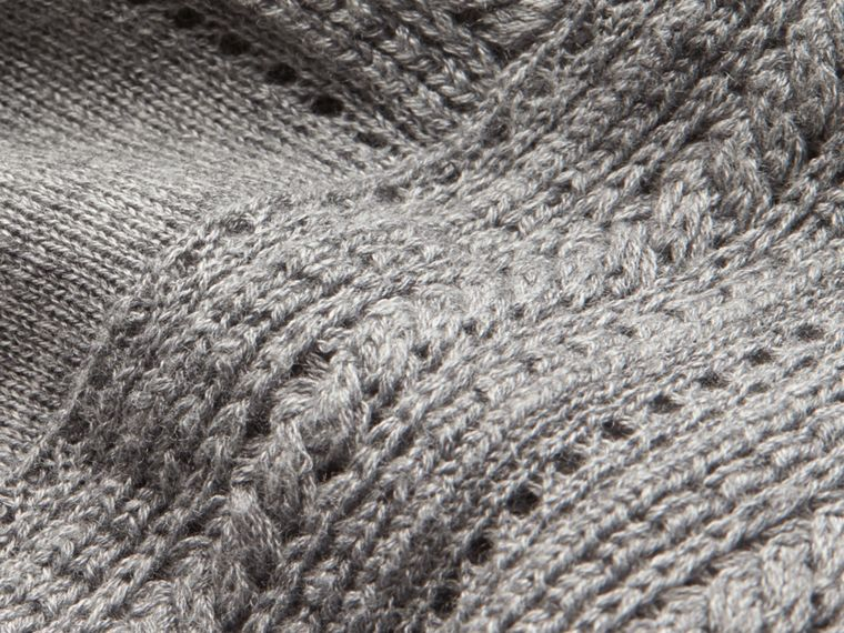 Pale grey melange Open Stitch Detail Silk Wool Cardigan Pale Grey Melange - cell image 1